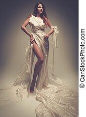 antiguo, griego, estilo, mujer, blanco, túnica