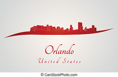 Orlando skyline in red