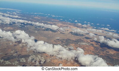 fly over lanzarote - Flying over vulcan island Lanzarote,...