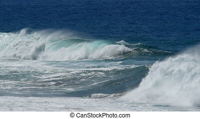waves rolling to coast slow motion
