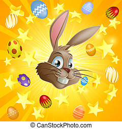 Easter rabbit and chocolate eggs - An Easter rabbit and...