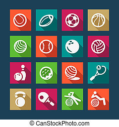 flat sports and fitnes icons set - Fitness and Sport Flat...