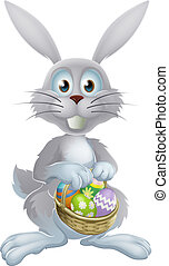 Easter eggs bunny - An illustration of a white Easter bunny...