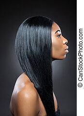 pretas, beleza, longo, direito, cabelo