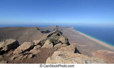pan over famous barlovento beach - A pan from the Pico de la...