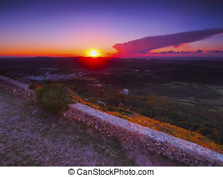 Sunset on Minorca - Sunset on Menorca - view from the top of...
