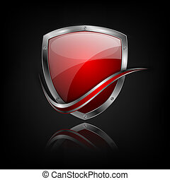 vector colorful shield with metallic border, bright curle...