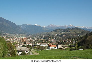 Total view of Brixen (Bressanone) in South Tyrol