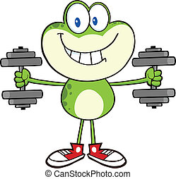 Green Frog With Dumbbells - Smiling Green Frog Cartoon...
