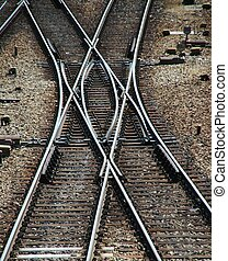 Railroad Double Switch - Railroad tracks and Switches near a...
