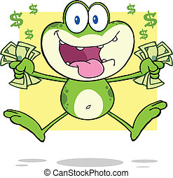 Crazy Green Frog Jumping With Cash - Crazy Green Frog...