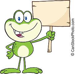 grenouille, tenue, haut, a, bois, signe