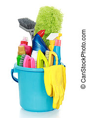 cleaning equipment - Cleaning items in bucket isolated on...
