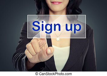 woman push to  Sign Up button on virtual screen