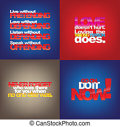 Set Of Motivational Quotes - Set Of Typographic Backgrounds...