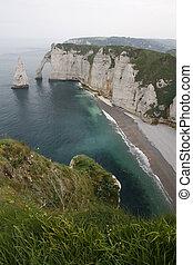 Etretat Cliffs - Etretat cliffs, with the famous Aval et...