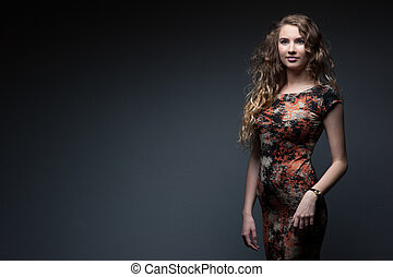 sexy fashion girl - sexy caucasian woman in short dress...