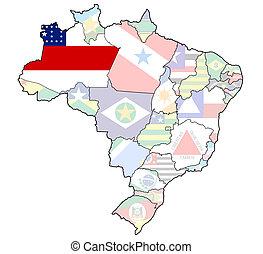 Brazylia, mapa, stan,  Amazonas
