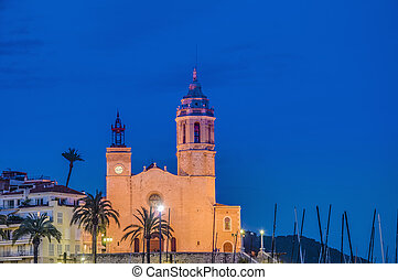 Sant Bartomeu i Santa Tecla church at Sitges, Spain - Night...