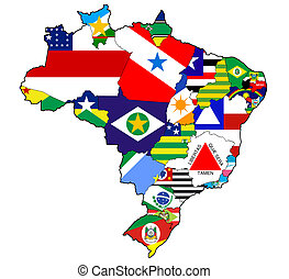 administration on map of brazil - states and regions on...