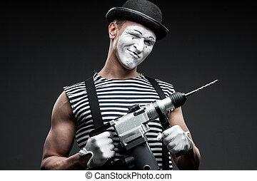 mime, marteau, foret