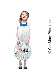 girl with basket - happy smiling little girl holding basket