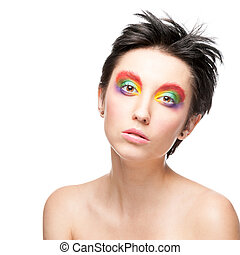 portrait of beautiful woman with fantasy makeup