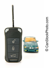 Car Key - Modern car key isolated against a white background