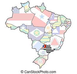 Brazylia, mapa, stan,  paulo,  Sao