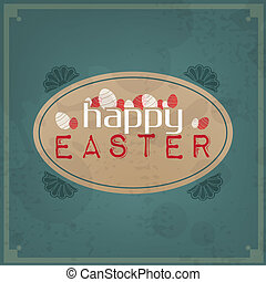 Happy Easter Vintage Typographic Background Motivational...