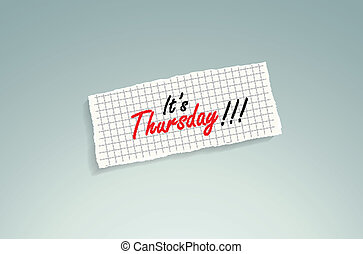 It is Thursday! Hand writing text on a piece of math paper...