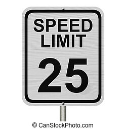 Speed Limit 25 Sign - A white American road sign with words...