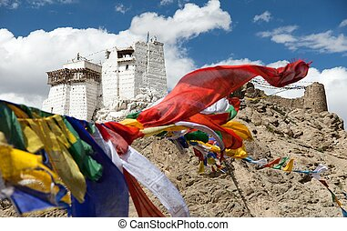 Namgyal Tsemo Gompa with prayer flags - Leh - Ladakh - Jammu...