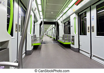 Metrovalencia subway car interior view - Empty contemporary...