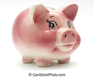 piggy bank - Pink piggy bank isolated on white background...