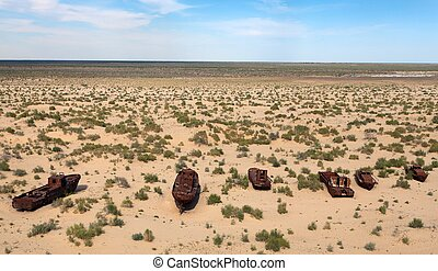 Boats in desert around Moynaq, Muynak or Moynoq - Aral sea...