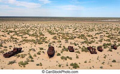 Boats in desert around Moynaq, Muynak or Moynoq - Aral sea...