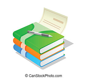pile of books with pen