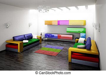 modernos, sala, 3D, fazendo