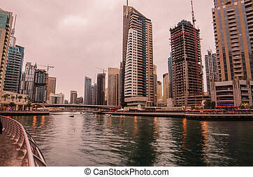 Dubai Marina (United Arab Emirates) in the sunset