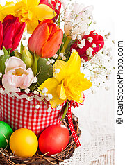 Spring flowers and Easter eggs - Bouquet of spring flowers...