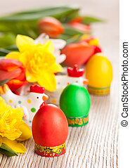 Easter eggs and flowers for holiday