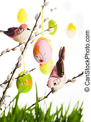 Easter eggs and birds - Easter colored eggs and birds on...