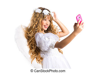 Angel blond girl taking picture mobile phone and feather...