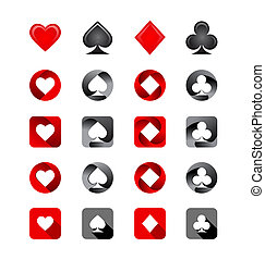 Illustration of Playing Card Suits Icons set on white...