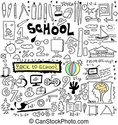 School Doodle texture isolated on white background, hand...