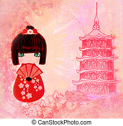 Kokeshi doll cartoon character , beautiful abstract card