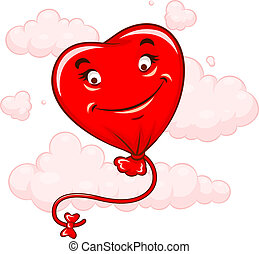 Red heart flying among clouds Eps10 vector illustration...