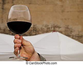 Salut - Male hand holding up a glass of cabernet red wine