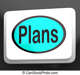 Plans Button Shows Objectives Planning And Organizing